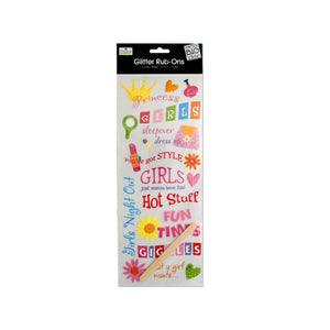 Girls Glitter Rub-On Transfers - Pack of 24