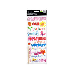 Bulk Buys Party Décor Girlfriends Glitter Rub-On Transfers Pack Of 24