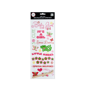 Baby Girl Glitter Rub-On Transfers - Pack of 24