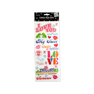 Bulk Buys Party Décor Romance Glitter Rub-On Transfers Pack Of 24
