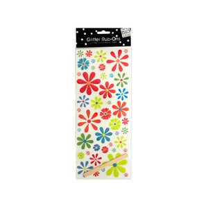 bulk buys Flowers Glitter Rub-On Transfers, Green/Blue/Red