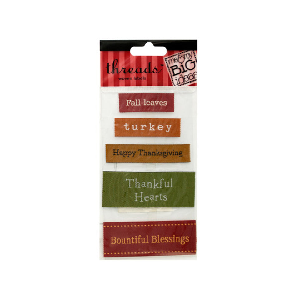 Bulk Buys Thanksgiving Woven Labels Pack Of 24