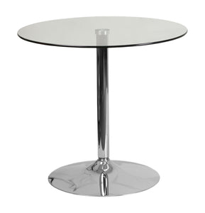 Flash Furniture 31.5'' Round Glass Table with 29''H Chrome Base