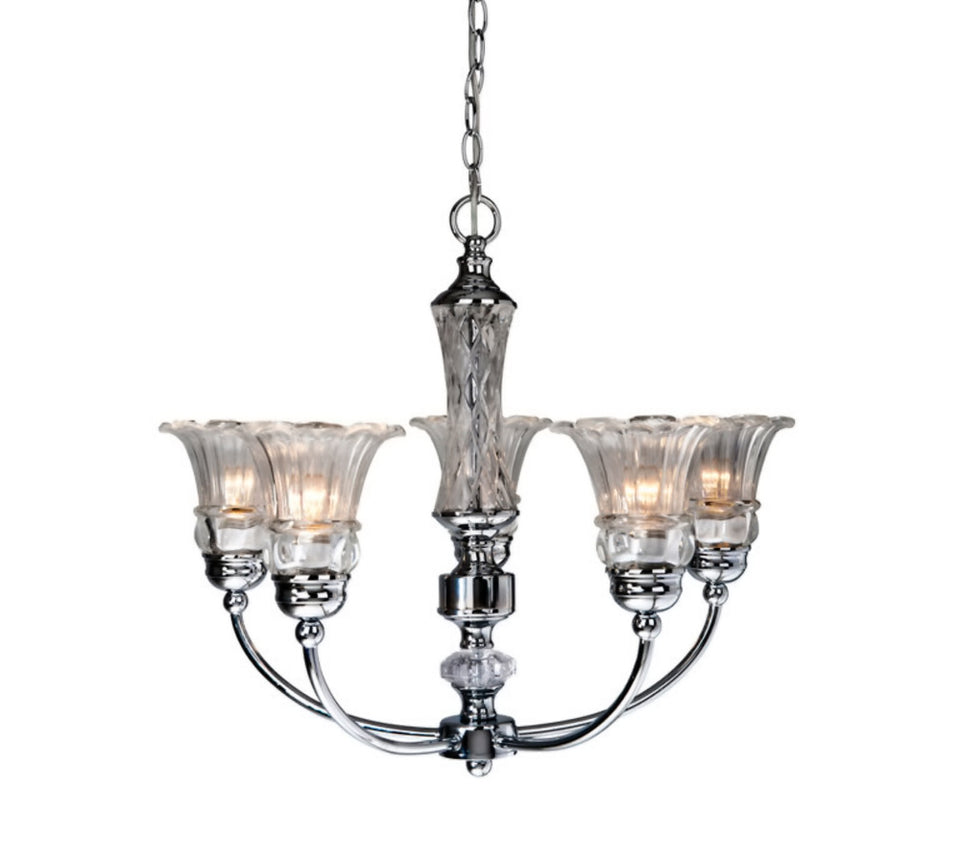Elegant Designs CH1000-CHR 5 Light Glass Ceiling Glacier Petal Chandelier, Chrome