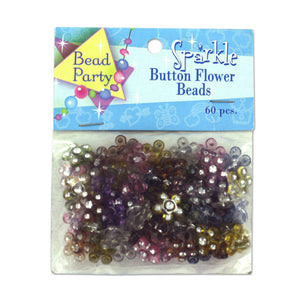 Sparkle Button Flower Beads, Pack of 60 - Pack of 24