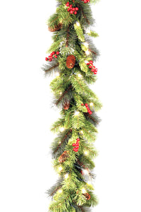 "9' x 10"" Crestwood Spruce Garland with Silver Bristle, Cones, Red Berries and Glitter with 50 Clear Lights-"