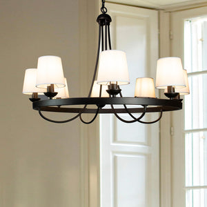 Cenports Baden Rustic Wagon Wheel Light Fixture with 8 Bulb and White Fabric Shades, Overhead Lighting with Vintage Black Frame for Foyer, Home, Living or Dining Room