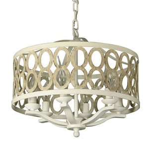 6-Light Steel Frame Drum Chandelier in Biege