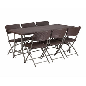 Flash Furniture 32.5\'\'W x 67.5\'\'L Brown Rattan Plastic Folding Table Set with 6 Chairs
