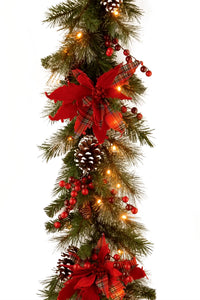 "National Tree Company Christmas Deco 9' X 12"" Decorative Collection Tartan Plaid Garland with Cones, Red Berries, Poinsettas and 50 Soft White Battery Operated LEDs with Timer"