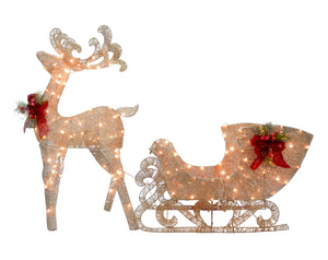 National Tree Reindeer and Santa s Sleigh with LED Lights