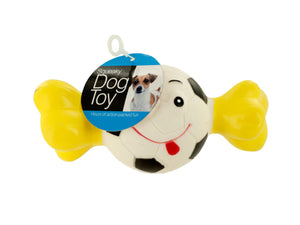 Bulk Buys Squeaky Sports Ball with Bone Dog Toy - Pack of 12