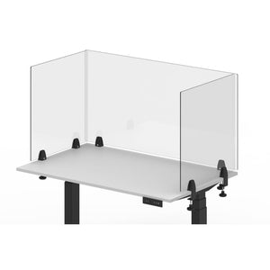 Reclaim Acrylic Sneeze Guard Desk Divider - Clamp-On, Clear, 4 Pack