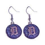 MLB Detroit Tigers Sports Team Logo Glitter Sparkle Dangle Earring Set