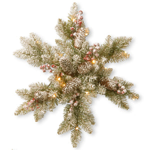 "18"" Snowy Dunhill Fir Snowflake with Battery Operated Warm White LED Lights"