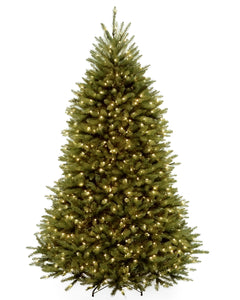 National Tree Company 7 1/2\' Dunhill Fir Hinged Tree with 750 Clear Lights