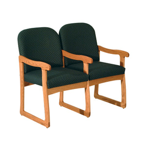 Prairie Two Seat Chair w/Center Arms Medium Oak Finish Arch Olive