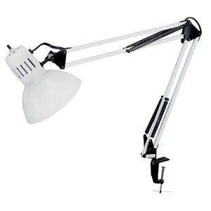 "Spring Balanced Clamp On Lamp Gloss White finish 36"" Reach"