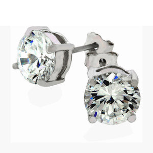Classic Round Cubic Zirconia Stud Earrings in Silver Tone Setting