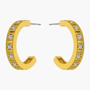 Clear Cubic Zirconia Rowed Gold Colored Roma Style Hoop Earrings