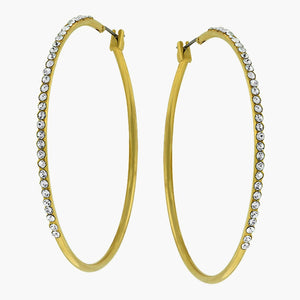 2.2 Inch Clear Crystal Jeweled Gold Colored Thin Hoop Earrings