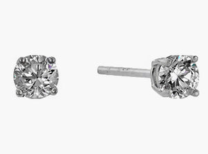 5 mm Sterling Round Cut Cubic Zirconia Stud Earrings, Silver Colored