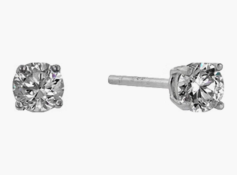 6 mm Sterling Round Cut Cubic Zirconia Stud Earrings, Silver Colored