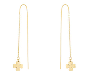 J Goodin Patricia Gold Stainless Steel Clover Threaded Drop Earrings