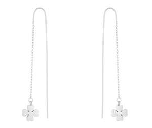 J Goodin Patricia White Gold Rhodium Stainless Steel Clover Threaded Drop Earrings