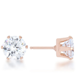 J Goodin Reign 3.4ct CZ Rose Gold Stainless Steel Stud Earrings