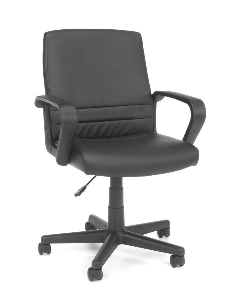 Model E1008 Essentials By OFM Leather Swivel Executive Office Chair W/Arms,Black