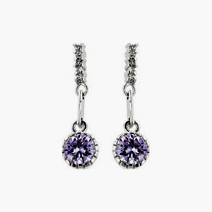 Silver Colored Metal Simple Cubic Zirconia Dangle Earrings, Lavender