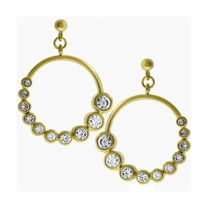 Gold Colored Metal Graduated Cubic Zirconia Circle Earrings, Clear