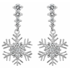 Silver Colored Metal Cubic Zirconia Snowflake Drop Earrings, Clear