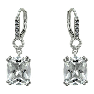 Silver Colored Metal Cushion Cut Cubic Zirconia Drop Earrings, Clear