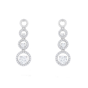 J Goodin Cubic Zirconia Silvertone Finish Classic Anniversary Style Graduated Drop Earrings