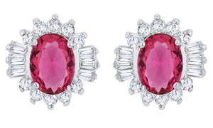 J Goodin Chrisalee 3.3ct Ruby CZ White Gold Rhodium Classic Stud Earrings