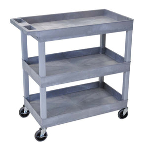 "Luxor 32"" x 18"" Tub Storage Cart 3 Shelves   Gray"