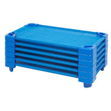 ECR4Kids Standard Stackable Kiddie Cot with Sheet RTA - Blue, 6 Pack