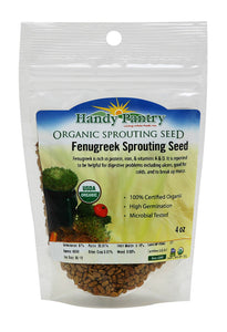 Organic Fenugreek Sprouting Seeds - 4 oz - Handy Pantry Brand - Seeds for Planting, Hydroponics, Growing Sprouts, Grinding For Spices & More