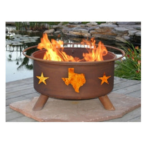 Patina Products Texas State and Stars Classic Fire Pit with Grill