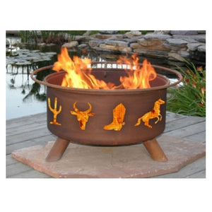 Patina Products Western Cowboy Classic Fire Pit with Grill