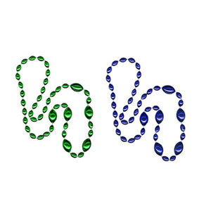 Jumbo Football Beads Green/Royal Blue 2 Piece