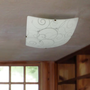Simple Designs FM3001-WHT Square Flushmount Scroll Swirl Design Ceiling Light, White