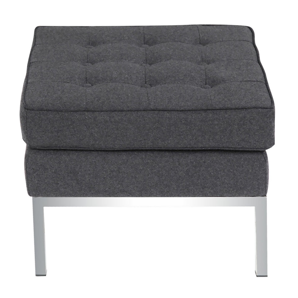 Nova Furniture Group Button Ottoman in Wool, Gray