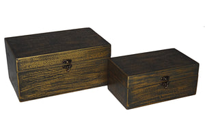 Cheung's FP-3846-2BG Distressed Brushed Treasure Box| Set of 2| Gold