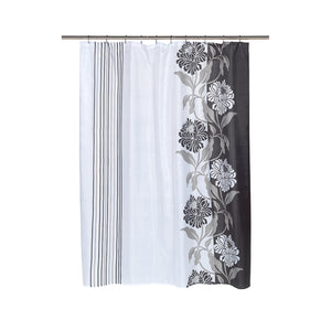 Carnation Home Fashions Chelsea Fabric Shower Curtain in Black [Kitchen]