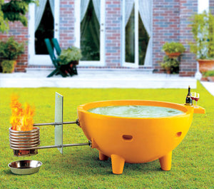 FireHotTub Round Fire Burning Portable Outdoor Fiberglass Soaking Hot Tub