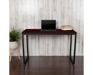"Flash Furniture Commercial Grade Industrial Style Office Desk - 47"" Length (Mahogany)"