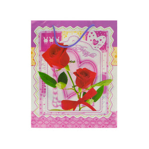 "Bulk Buys Party Décor 12.5"" Best Wishes/Roses Gift Bag Pack Of 24"